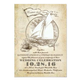 Nautical yacht wedding invitation-Come Sail Away 5x7 Paper Invitation Card