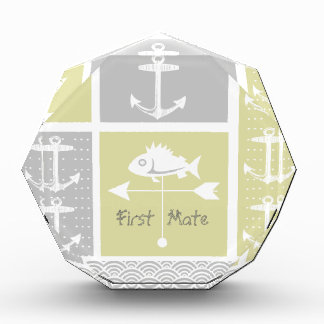 Nautical Yellow and Gray Anchor Fish Weather Vane Award