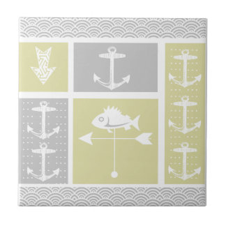 Nautical Yellow and Gray Anchor Fish Weather Vane Ceramic Tile