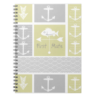 Nautical Yellow and Gray Anchor Fish Weather Vane Notebook