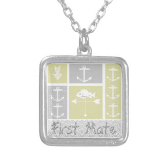 Nautical Yellow and Gray Anchor Fish Weather Vane Silver Plated Necklace