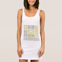 Nautical Yellow and Gray Anchor Fish Weather Vane Sleeveless Dress