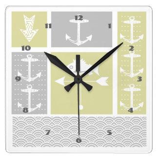 Nautical Yellow and Gray Anchor Fish Weather Vane Square Wall Clock