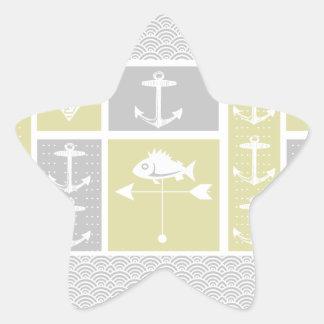 Nautical Yellow and Gray Anchor Fish Weather Vane Star Sticker