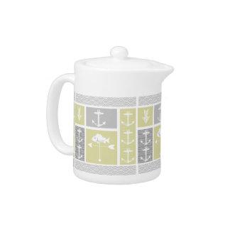 Nautical Yellow and Gray Anchor Fish Weather Vane Teapot