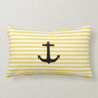 Nautical Yellow Stripe With Anchor Pillow
