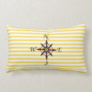 Nautical Yellow Stripe With Compass Pillows