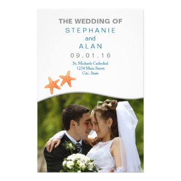 Beach Themed Nautically Starfish Photo Wedding Programs