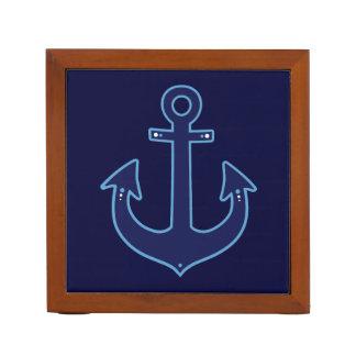 náutico azul del ancla de la marina de guerra organizador de escritorio