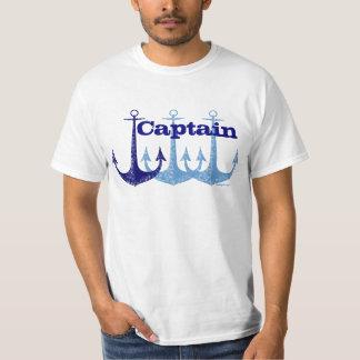 Náutico azul del capitán del ancla personalizado playera