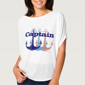 Náutico azul del capitán del ancla personalizado poleras