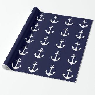Náutico del azul marino y blanco inspirado papel de regalo