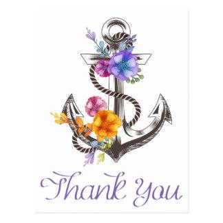Náutico gracias postal floral del ancla del barco