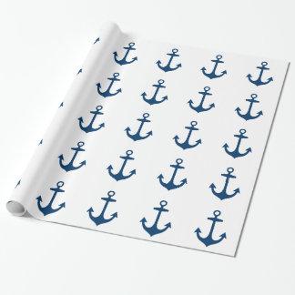 Náutico lindo de los azules marinos inspirado papel de regalo