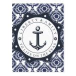 Nautico y motivo damasco azul y blanco, tarjeta postal