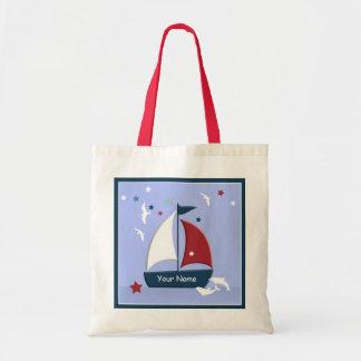 Náuticos lindos del diseño del velero van bolso bolsa tela barata