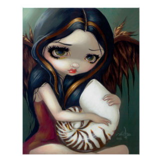 Nautilus Angel ART PRINT gothic fairy seashell fae