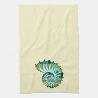 Nautilus azul y verde Shell del mosaico en Toallas De Mano