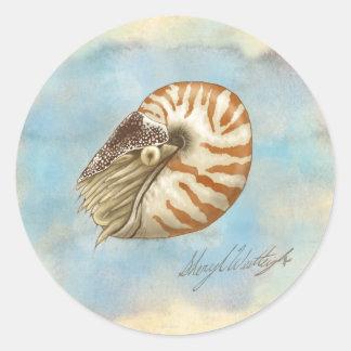 Nautilus de la historia natural pegatina redonda
