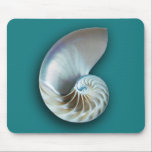 """Nautilus mousepad<br><div class=""""desc"""">The inside of a nautilus shell on a teal background</div>"""