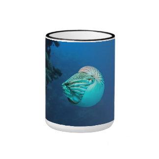 Nautilus on Great Barrier Reef Coral Sea Ringer Mug