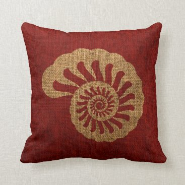 Beach Themed Nautilus Sea Shell in Rustic Nautical red Throw Pillow