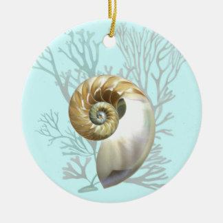 Nautilus & Seaweed Ceramic Ornament