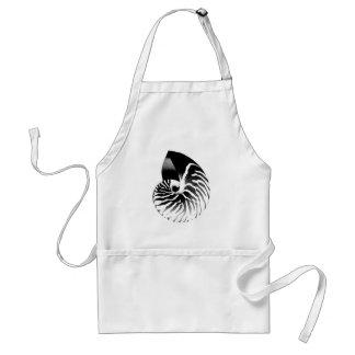 Nautilus shell - black grey and white apron