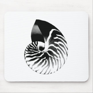 Nautilus shell - black, grey and white mouse pad