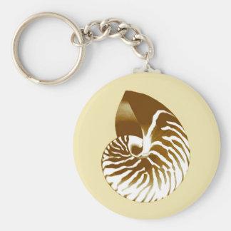 Nautilus shell - brown, white and beige basic round button keychain