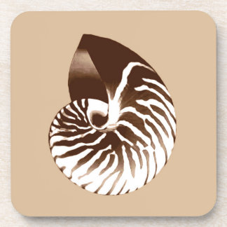 Nautilus shell - brown, white and beige beverage coaster