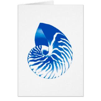 Nautilus shell - cobalt blue and white card