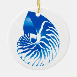 Nautilus shell - cobalt blue and white ceramic ornament