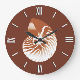 Nautilus shell - cocoa brown and white large clock