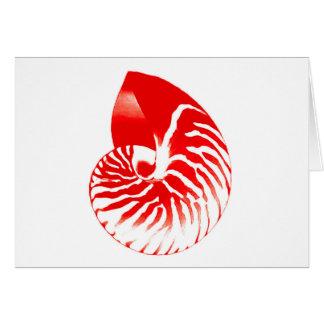 Nautilus shell - dark red and white card