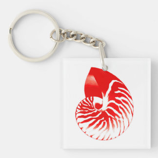 Nautilus shell - dark red and white Double-Sided square acrylic keychain