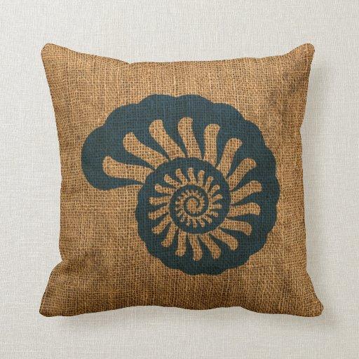 Deep Blue Throw Pillows : Nautilus Shell Deep Sea Blue Throw Pillows Zazzle