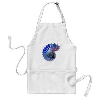 Nautilus Shell del mosaico del polígono azul y Delantal