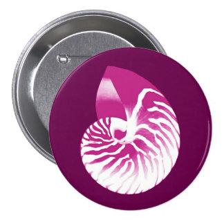 Nautilus shell - eggplant purple and white pinback button