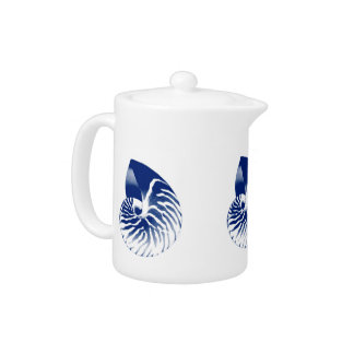 Nautilus shell - navy blue and white teapot