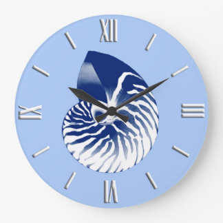 Nautilus shell - navy, white & light blue wallclocks