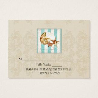 Nautilus Shell Ocean Striped Pattern Damask Beach Business Card