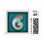 Nautilus shell on teal postage stamp