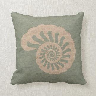 Nautilus Shell Seafoam Green Throw Pillows