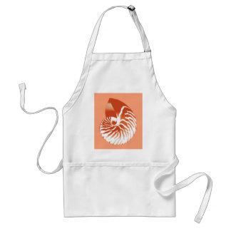 Nautilus shell - terracotta and white adult apron