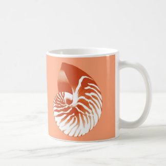 Nautilus shell - terracotta and white classic white coffee mug
