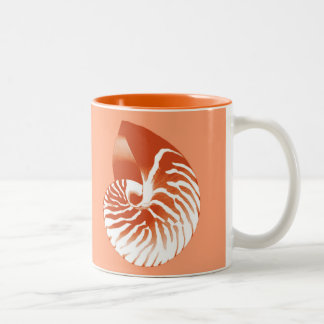 Nautilus shell - terracotta and white mug