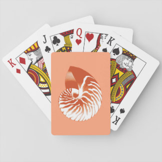 Nautilus shell - terracotta and white playing cards