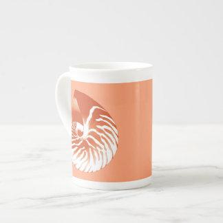 Nautilus shell - terracotta and white tea cup