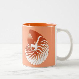 Nautilus shell - terracotta and white Two-Tone coffee mug